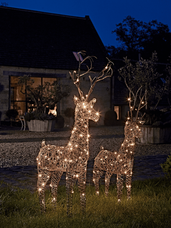 faux rattan light up reindeer carefully crafted from faux rattan on a wire frame our weather resistant lightweight reindeer are adorned with warm white