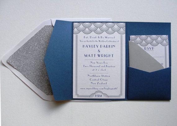 Navy Blue And White Wedding Invitations: Pocket Fold Wedding Invitation Set / Scallop Border With