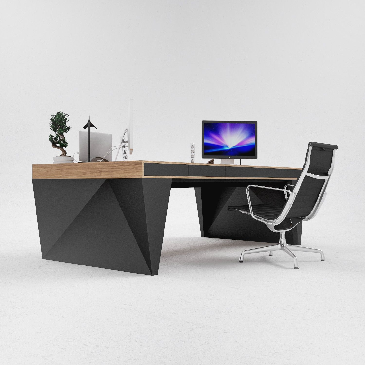 Corporate office tables - Large Table On A Stable Metal Base Is A Reliable Construction