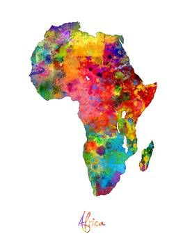 Africa Watercolor Map By Michael Tompsett Africa Drawing