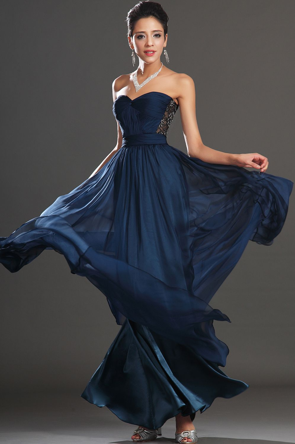 Usd edressit new gorgeous lace strapless evening dress