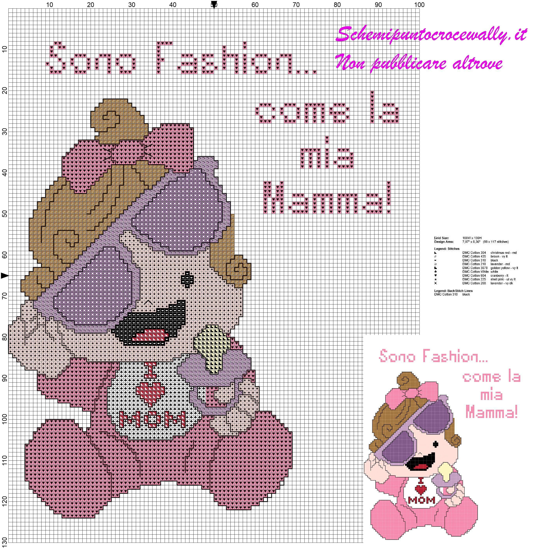 Schema punto croce gratis bambina fashion come la mamma for Schemi a punto croce gratis