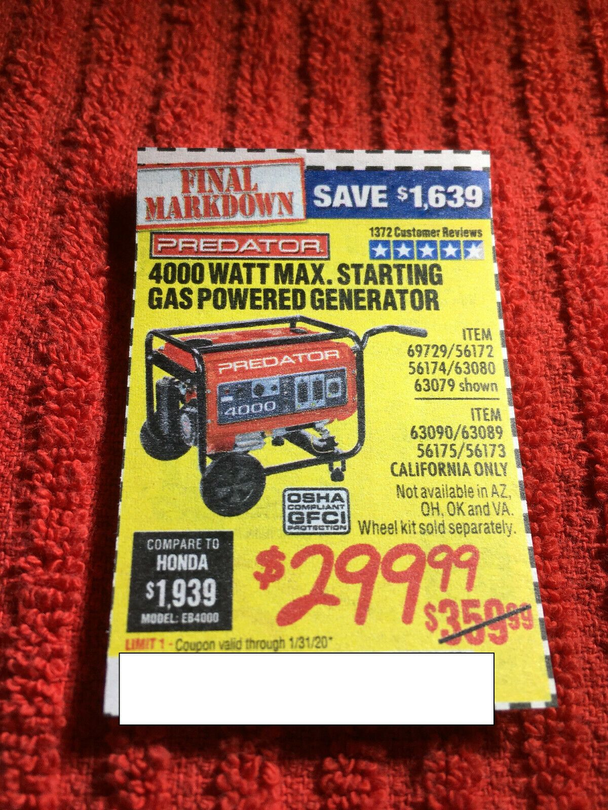 Coupon to save on 4000 Watt Max Starting Gas Generator