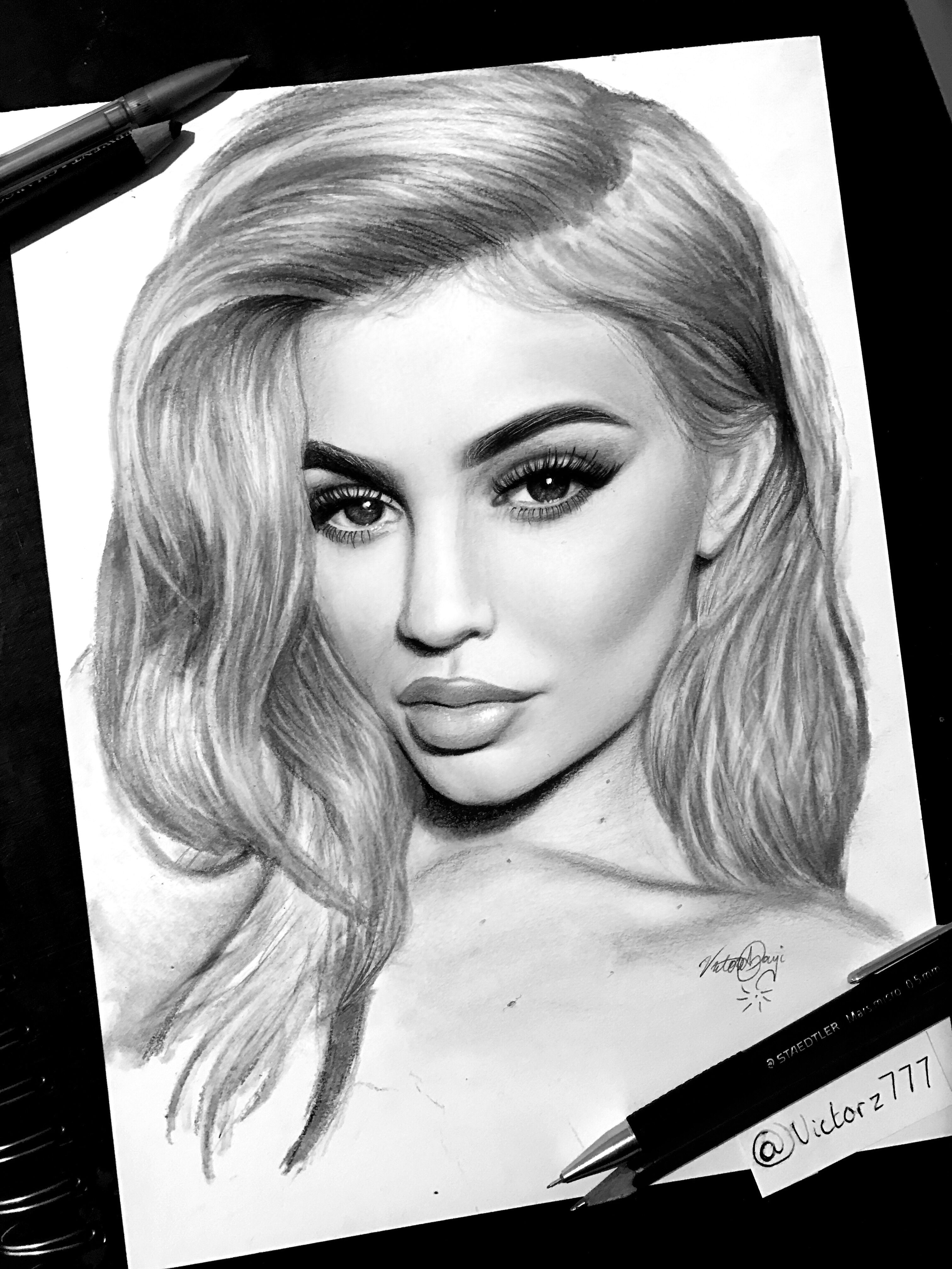 Kylie jenner graphite drawing