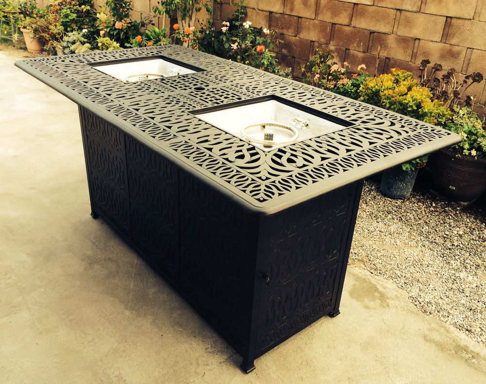 Outdoor propane fire pit bar height double burner table elisabeth