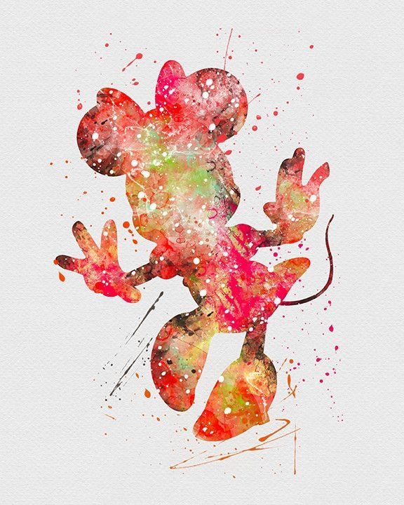 Minnie mouse 2 watercolor art print minnie mouse mice and wallpaper - Minnie mouse wallpaper pinterest ...