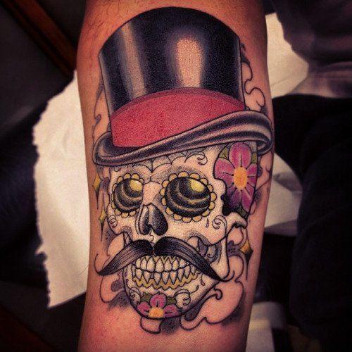 15 Gentlemanly Top Hat Tattoos Tattoos Tattoos Sugar Skull