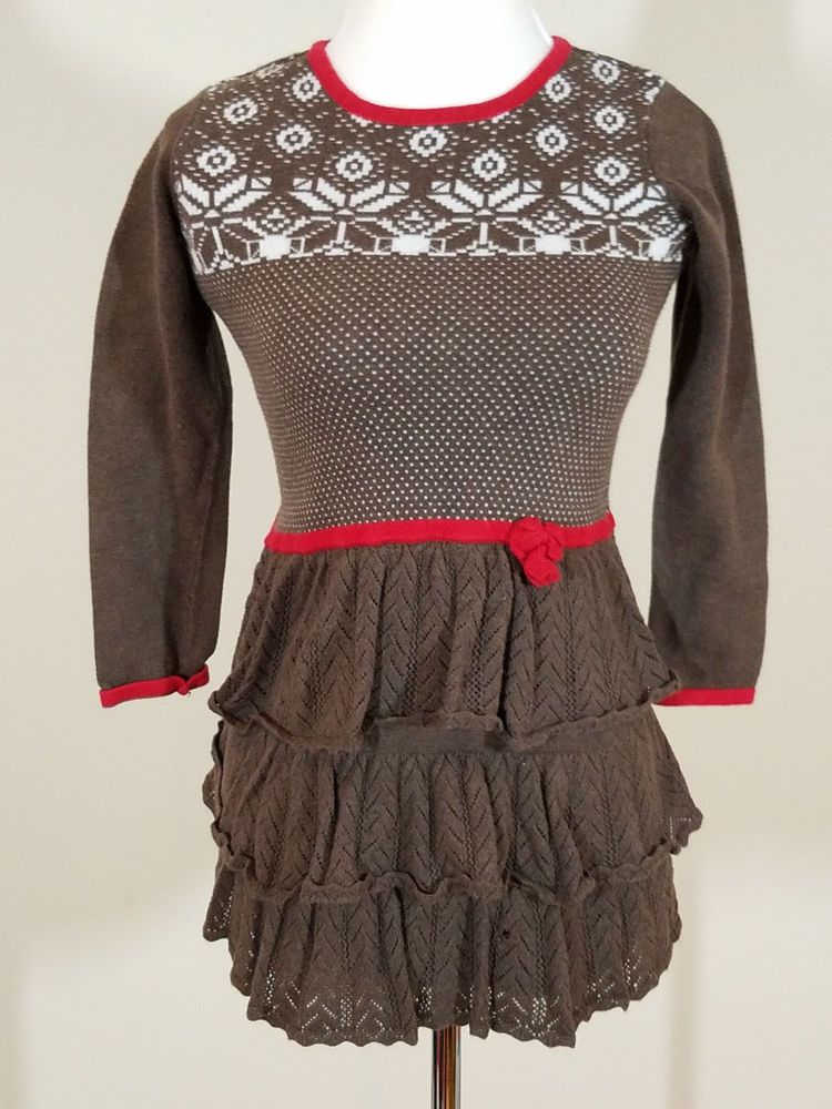 HANNA ANDERSSON BROWN Red FAIR ISLE SWEATER DRESS 120 6/7 ...
