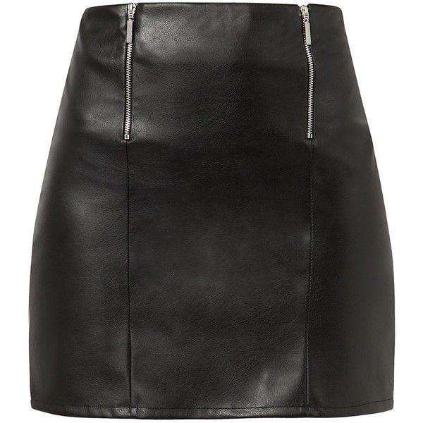 Black Leather-Look Double Zip Front Mini Skirt (155 ARS) ❤ liked on Polyvore featuring skirts, mini skirts, bottoms, saias, faldas, short skirts, vegan leather mini skirt, short mini skirts, fake leather skirt and vegan leather skirt