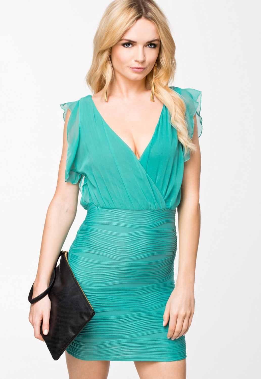 Turquoise Wrap Ruffled V Neck Texture Bodycon Dress Textured Bodycon Dress Bodycon Dress Blue Evening Dresses [ 1500 x 1033 Pixel ]