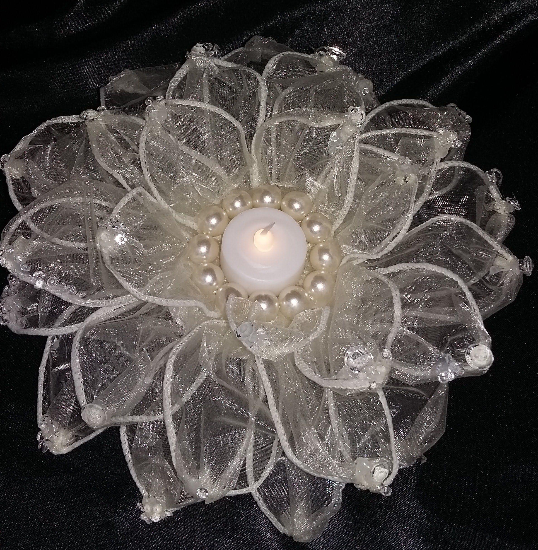 Diy wedding table decorations ideas  DIY WEDDING DECORATIONS  ORGANZA GIANT FLOWER  TABLE CENTER PIECE