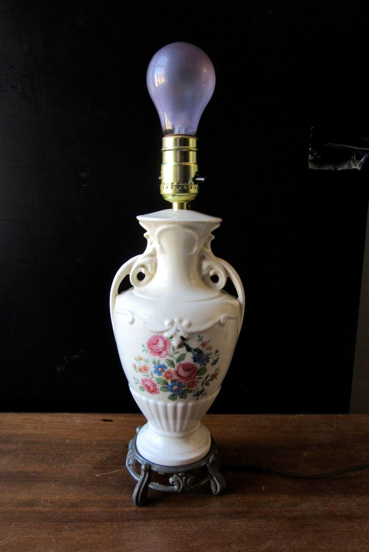 Ceramic Urn Lamp Floral Porcelain Lamp Metal Foot