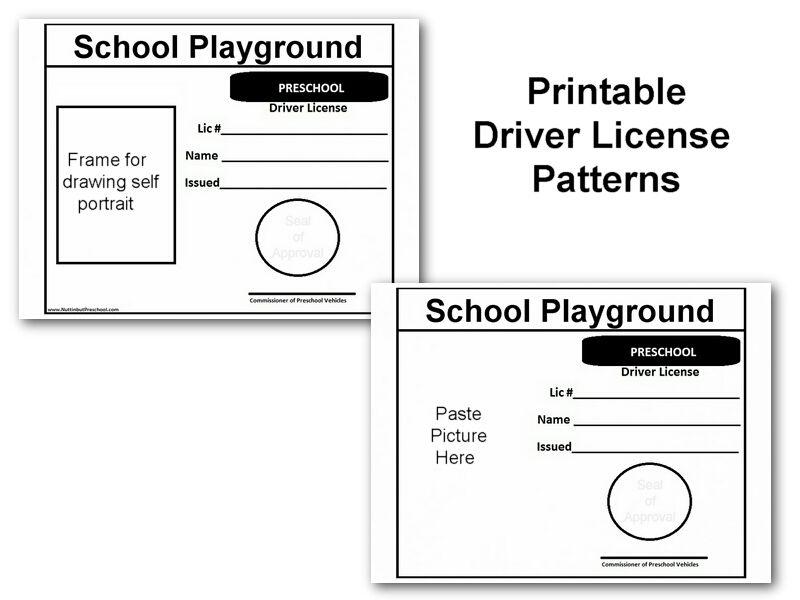 Drivers License Picture Transportation Theme Preschool
