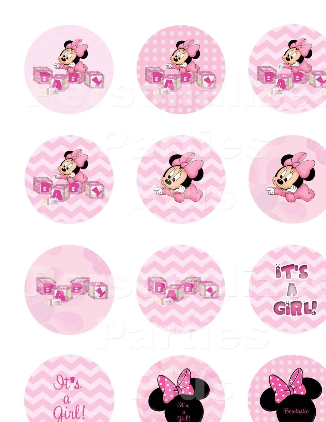 Pretty in pink Minnie Mouse baby shower cupcake toppers ...