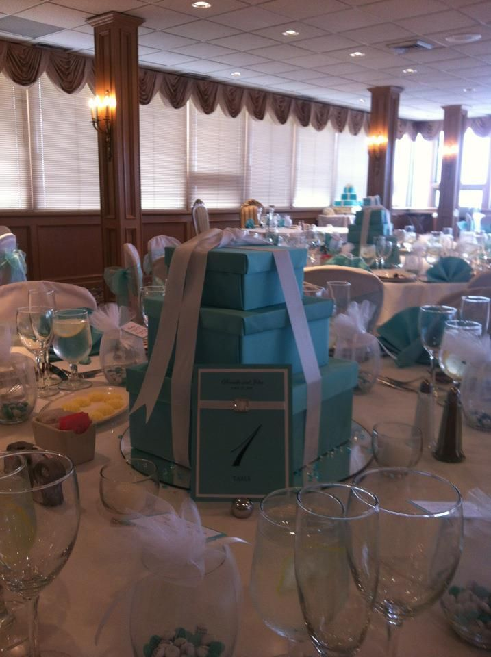 Another Cute Idea For The Table Numbers Stacked Tiffany Boxes Centerpiece Ideas Wedding Party Centerpieces Tiffany Bridal Shower Tiffany Theme Party
