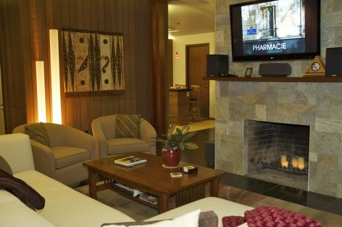 Emser Tile Golden Sand Quartzite Fireplace Spaces