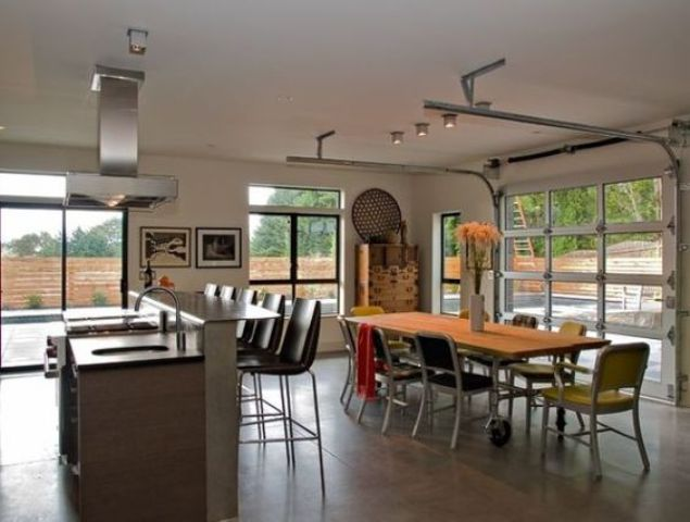 11 Open Plan Kitchen And Dining Space With Sectioned Glass Garage