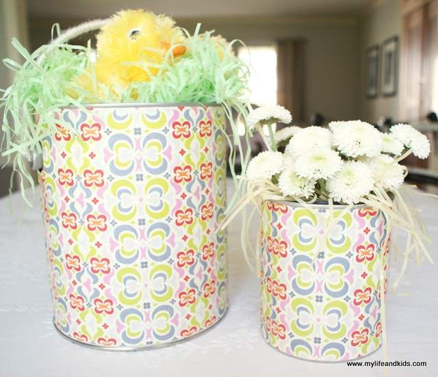 paint cans turned easter baskets