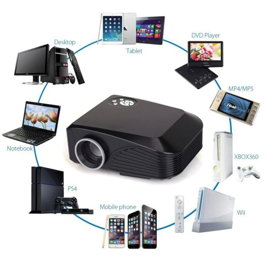 All-In-One Multimedia Home Cinema LED LCD Projector HD 1080P PC AV ...