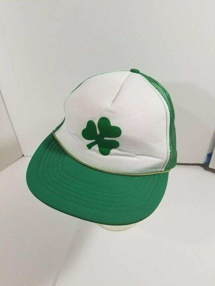 3db5daede46 Vintage MADHATTER brand Shamrock St. Patrick s Day Mesh Trucker Hat Foam OS   Madhatter  TruckerHat