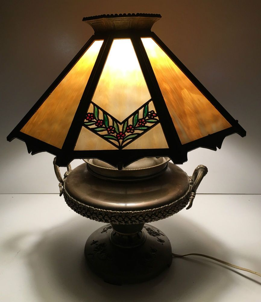 Antique bradley hubbard signed bh table lamp 8 panel slag glass antique bradley hubbard signed b h table lamp 8 panel slag glass shade works ebay aloadofball Gallery