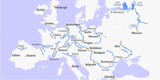 Rivers Map Europe.European Rivers Seine Rhine Elbe Po Danube Volga Cc2w4