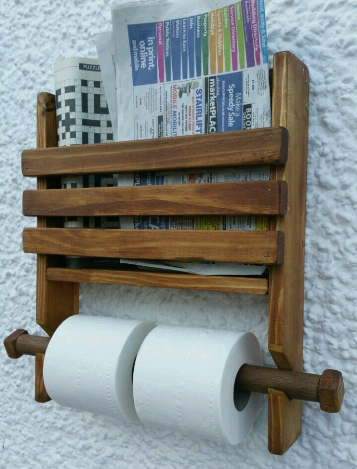 Rustic Wooden Wall Double Toilet Roll Holder And Book Magazine
