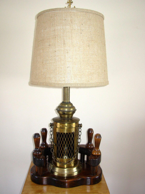 Vintage Nautical Lamp Lantern 4 Belaying Pins Nautical Lamps Lamp White Lamp Shade