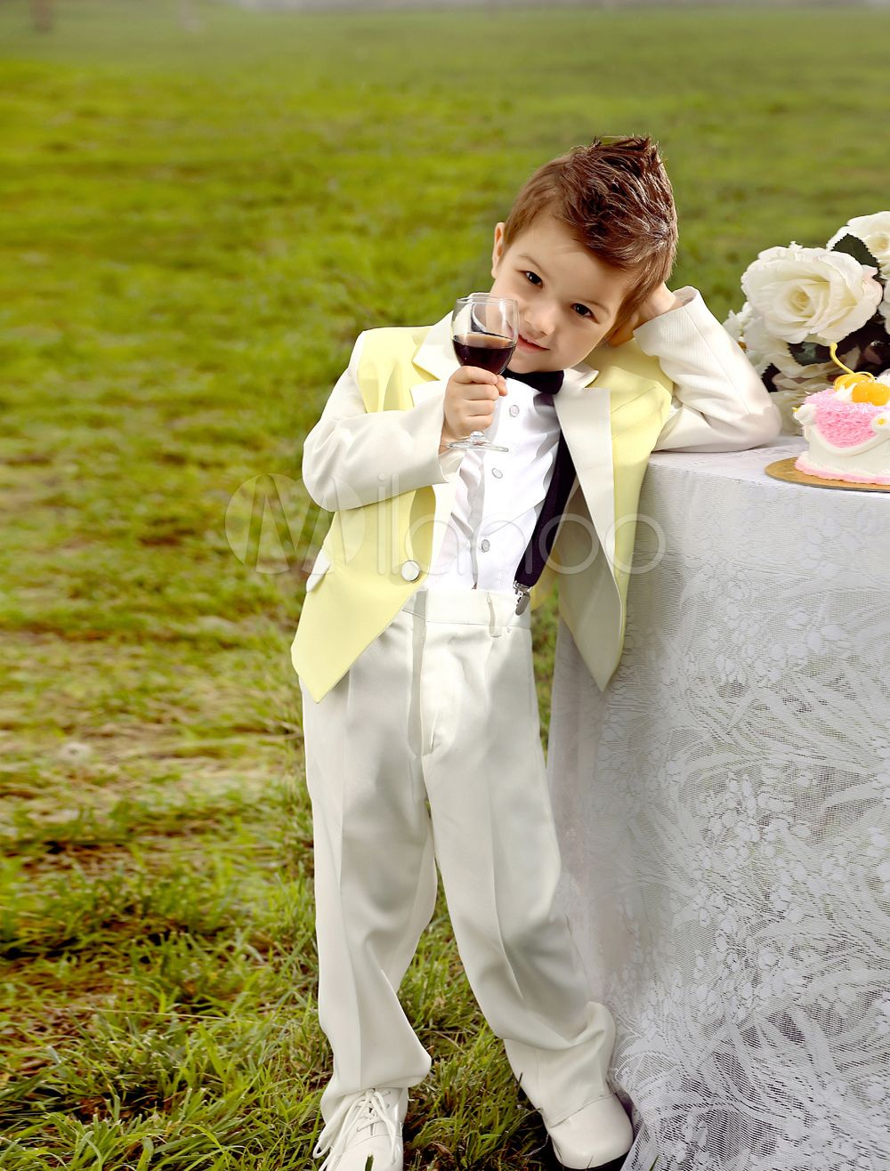 6e592c5a9231 Baby Boy Suit Set Kids Wedding Tuxedo Yellow Jacket Pants Shirts Bow Tie 4  Pcs Ring