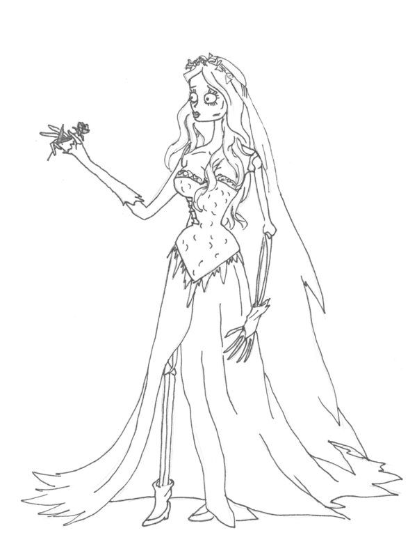 Emily Corpse Bride Free Colouring Pages