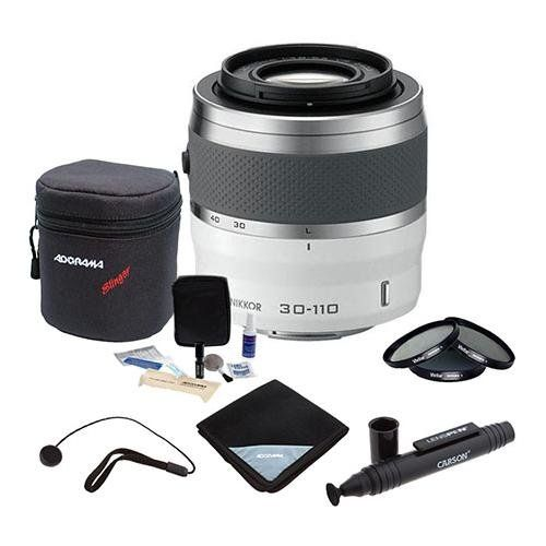 Nikon 1 30 110mm F 3 8 5 6 Vr Lens For Mirrorless Camera System White Bundle With 40 5mm Filter Kit Lens Wrap 15x15 Lens Wrap Mirrorless Camera Vr Lens