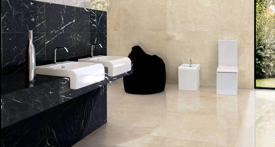 Ba o m rmol crema marfil y negro markita m rmoles for Banos granitos y marmoles