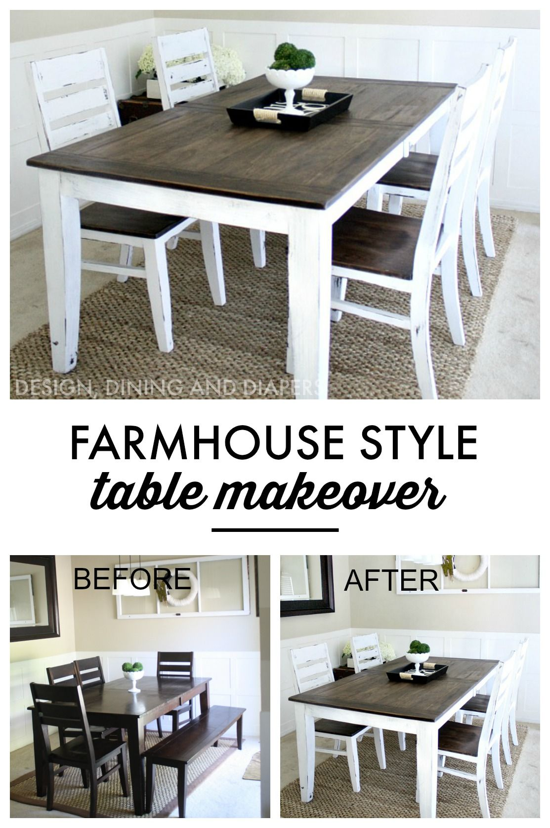 farm style kitchen table Farmhouse Table Makeover