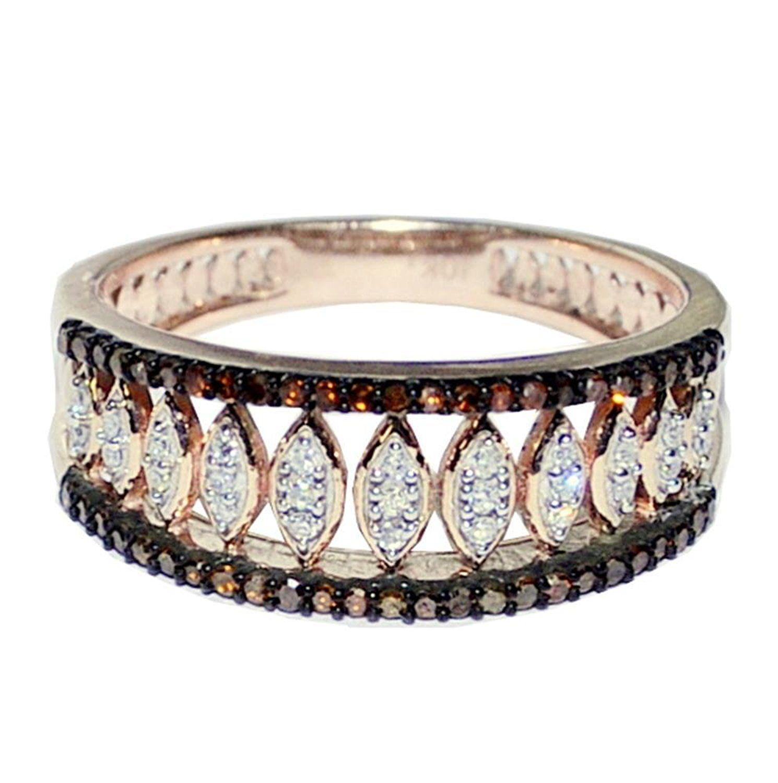 Cognac Diamond Anniversary Gift Ring 10K Rose Gold 1/4cttw 7mm Wide ...