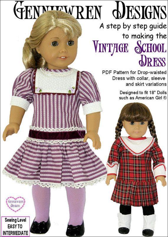 Pixie Faire Genniewren Designs Vintage School Dress Doll | Puppen ...