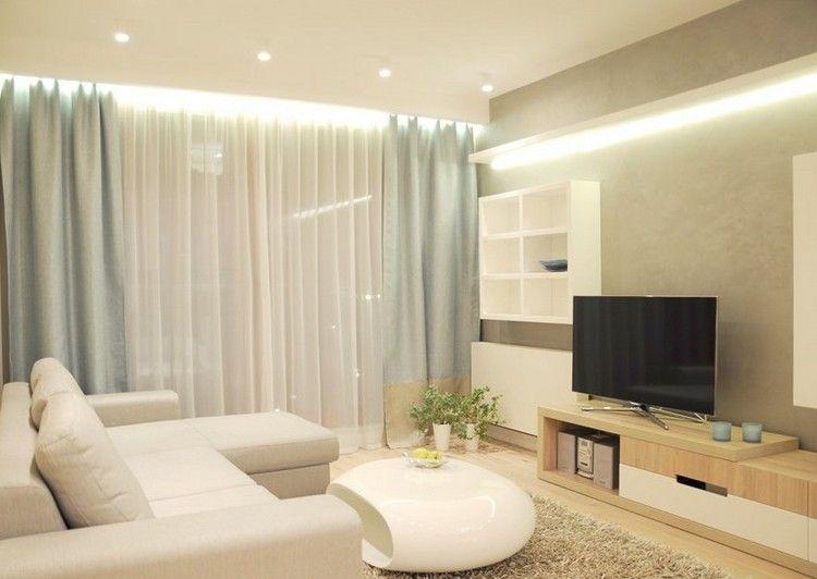 Wohnungseinrichtung Ideen Wohnzimmer Weiss Indirekte Led Deckenbeleuchtung