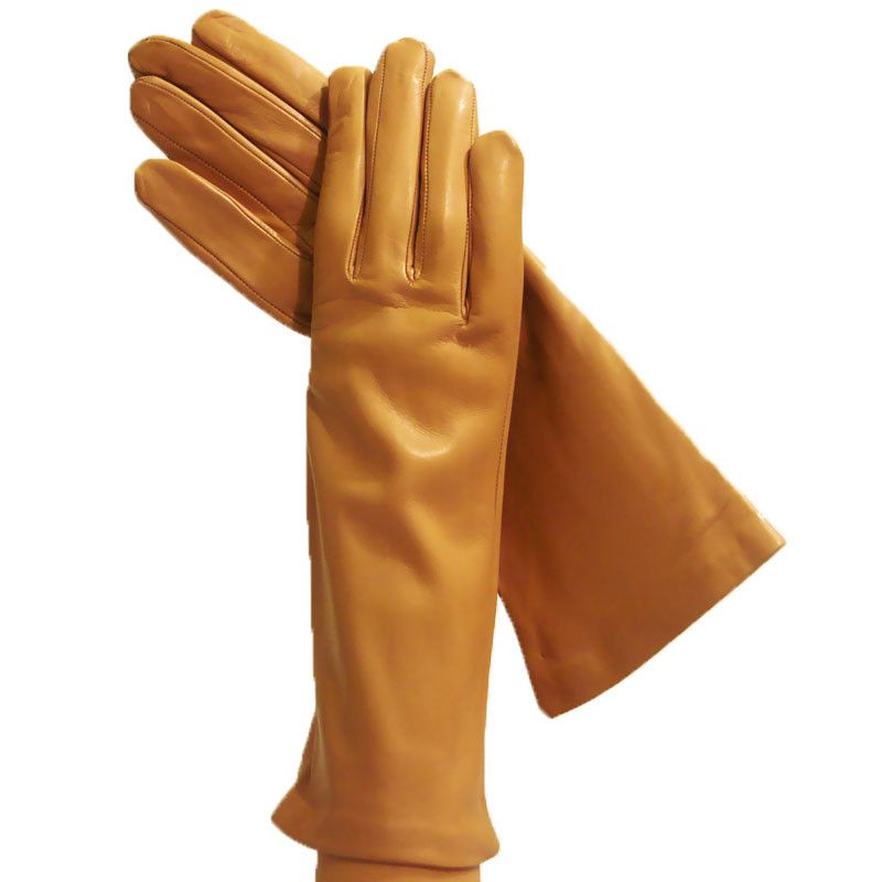 cbf1fa77c9804 Camel color imported Ladies Italian Leather Gloves that reach 4 inches  above the wrist. These women's gloves are impressive, sensuous but tasteful  women's ...