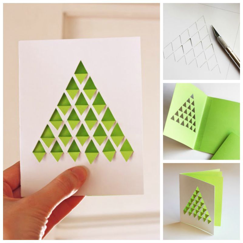 Creative Ideas - DIY Geometric Christmas Tree Card Christmas - christmas letter format