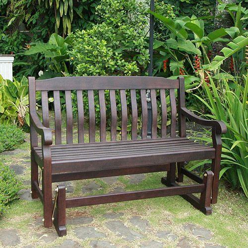 Better Homes Gardens Delahey Outdoor Glider Bench Dark Brown Walmart Com Porch Glider Patio Glider Outdoor Porch