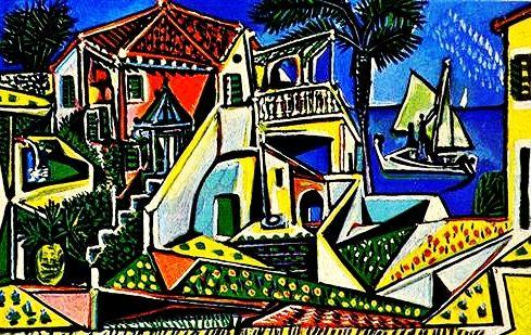 """Mediterranean Landscape"".....Artist: Pablo Picasso Completion Date: 1952 Style: Cubism Period: Later Years Genre: landscape Technique: oil Material: panel Dimensions: 81 x 125 cm Gallery: Albertina, Vienna, Austria."