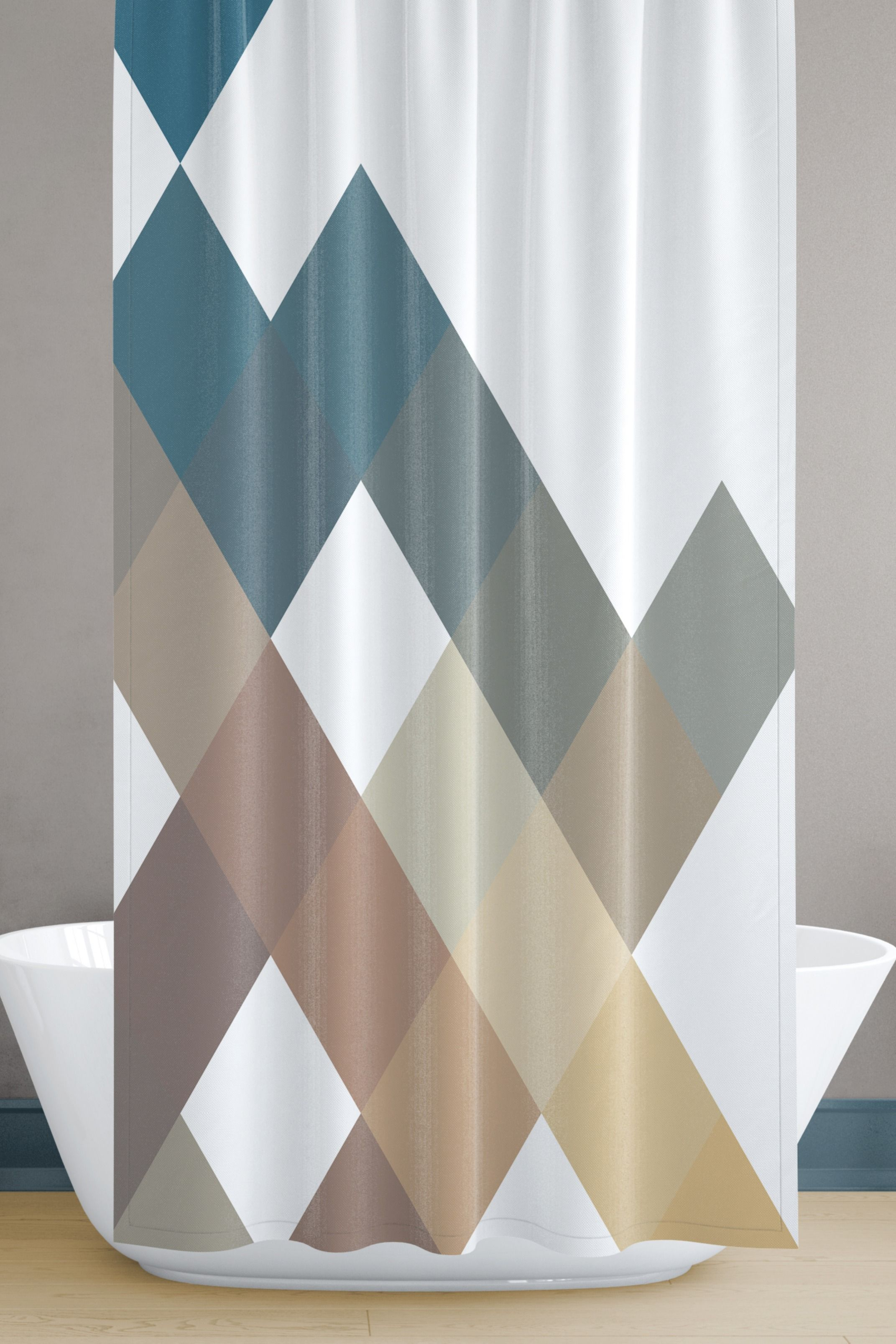 Large Squares Geometric Shower Curtain Set Exclusively Here Now