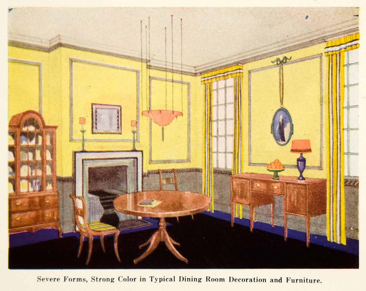 1921 Color Print Dining Room Art Deco Interior Design Yellow Wall ...