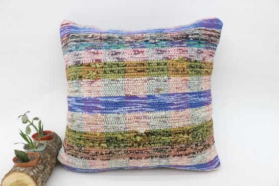 Organic Pillow,Pillow Case, Blue Pillow, Kilim Pillow, Throw Pillow, Striped Pillow,  Saloon Pillow