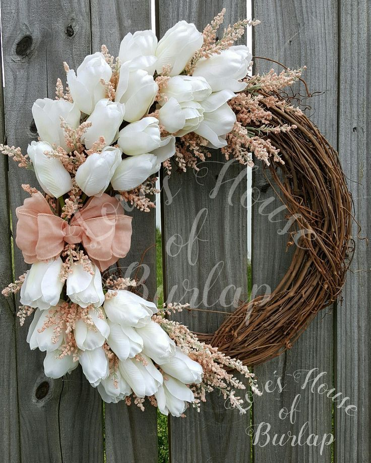 Photo of Spring wreath, rustic wreath, floral wreath, tulip wreath, Mother's Day wreath, So …