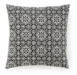 Haveli 20x20 Cotton Pillow, Black and White Geometric Tile Print -- A beautiful tile print gives a soft pattern and color to this chic, Eastern-inspired pillow. Solid back.