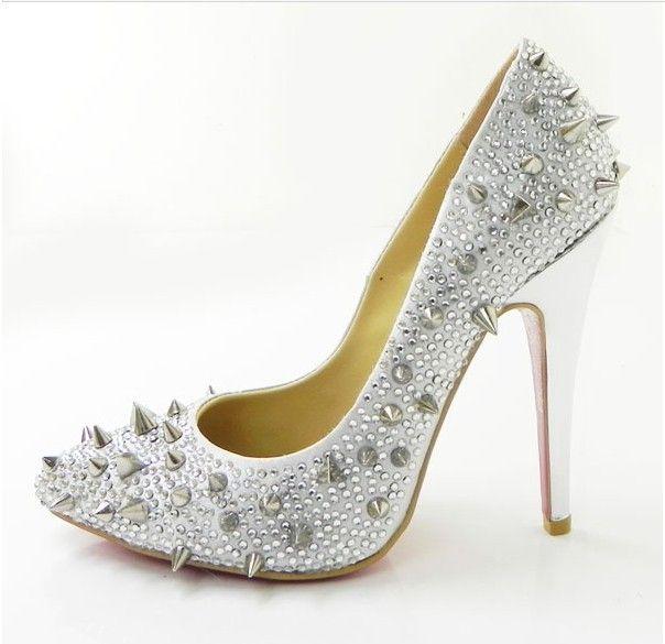 New Style Christian Louboutin White Spikes