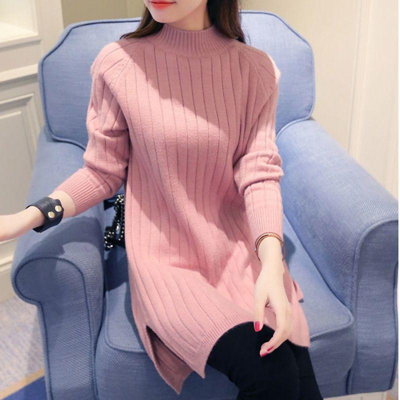 Women Turtleneck Sweater Slit Dress 2017 Full Sleeve Knitting ...
