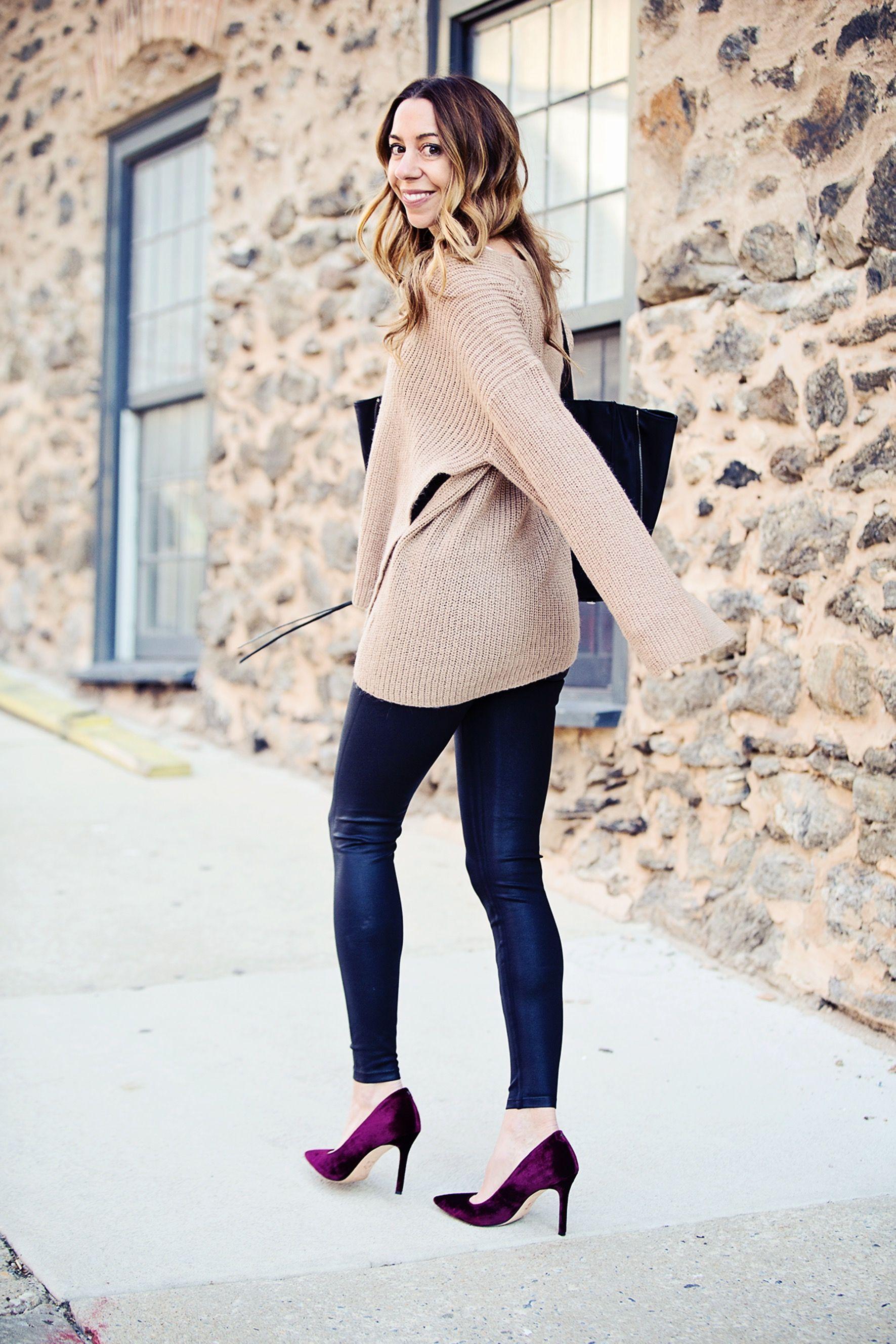 8fe7ff23e56 The Motherchic wearing yummie faux leather leggings Faux Leather Leggings