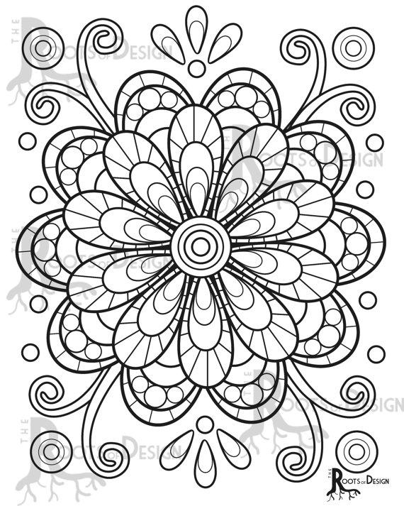 Instant Download Coloring Page Fun Mandala Flower Or Geometric Design Doodle Art Printable Design 4 Flower Coloring Pages Mandala Coloring Pages Flower Mandala