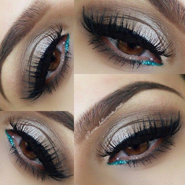 pop of turquoise glitter on the lower inner corner w/ neutral eye + winged liner @rania_bellamarie_mua   #makeup, pop of color, eyeliner